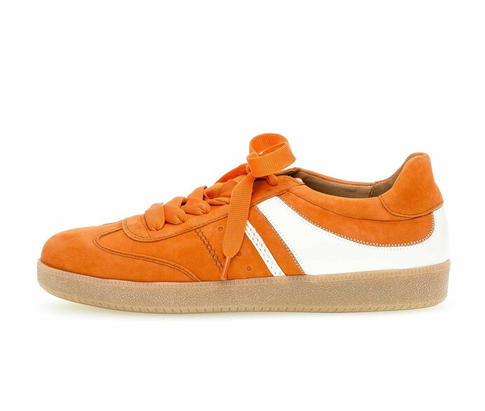 Low sneaker Material mix leather orange p587485 #0