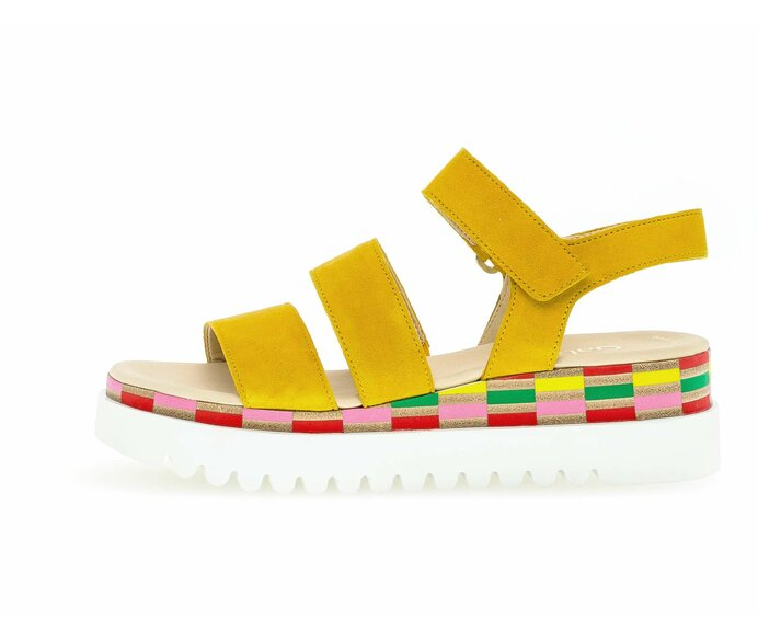 Platform sandal Full-grain leather yellow p588668 #0