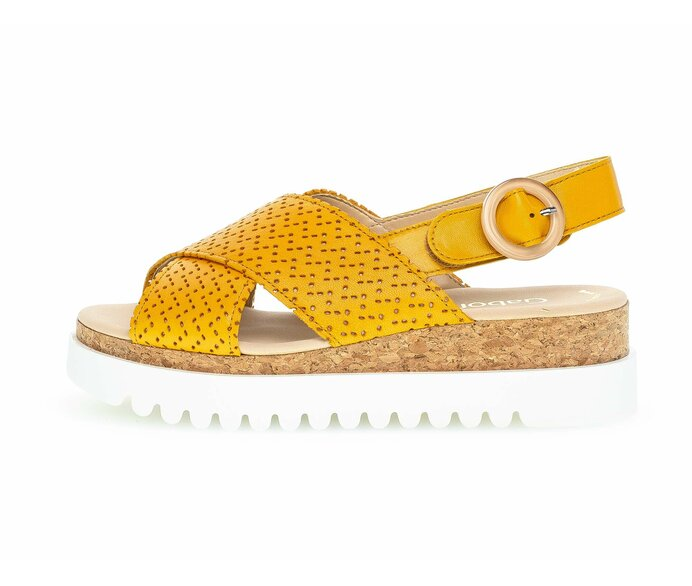 Platform sandal Smooth leather yellow p5197755 #0